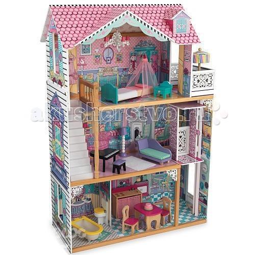 KidKraft Трехэтажный дом для кукол Барби Аннабель с мебелью 17 элементовТрехэтажный дом для кукол Барби Аннабель с мебелью 17 элементовKidKraft Трехэтажный дом для кукол Барби Аннабель (Annabelle) с мебелью 17 элементов имеет 4 больших комнаты. Первый этаж представлен кухней и ванной, второй - гостиной, третий- стильной спальней. Кроме этого, кукольный коттедж дополняют балкон с резными перилами, лестница и подвижный лифт.   Наполнить разнообразием игру с домиком помогают 17 интерьерных и функциональных аксессуаров, среди которых присутствуют ванна, туалет, плита и мойка, обеденный стол и стулья, рояль, диван, пуфик, торшер, большая кровать и другие предметы.   В наборе: домик  17 предметов интерьера  инструкция.<br>