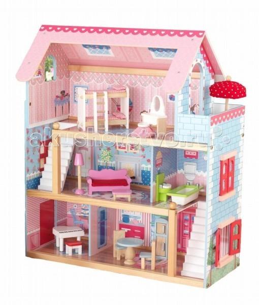 Кукольные домики и мебель KidKraft Кукольный домик Открытый коттедж Chelsea с мебелью 19 элементов kidkraft домик для мини кукол стильный коттедж с 3 лет