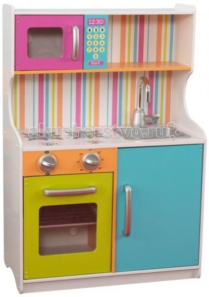 KidKraft Деревянная игровая кухня для девочек Делюкс Мини Bright Toddler KitchenДеревянная игровая кухня для девочек Делюкс Мини Bright Toddler KitchenKidKraft Деревянная игровая кухня для девочек Делюкс Мини (Bright Toddler Kitchen). Яркая кухня состоит из духовки, микроволновой печи, съёмной раковины, которую легко чистить, плиты. Кроме этого, они дополняется полками для размещения столовых предметов, подвижными щёлкающими ручками и открывающимися дверцами.   С такой кухней маленькой хозяйке будет не скучно играть, готовить игрушечные блюда, мыть посуду и заниматься домашними делами.   В наборе: кухня с техникой инструкция.<br>