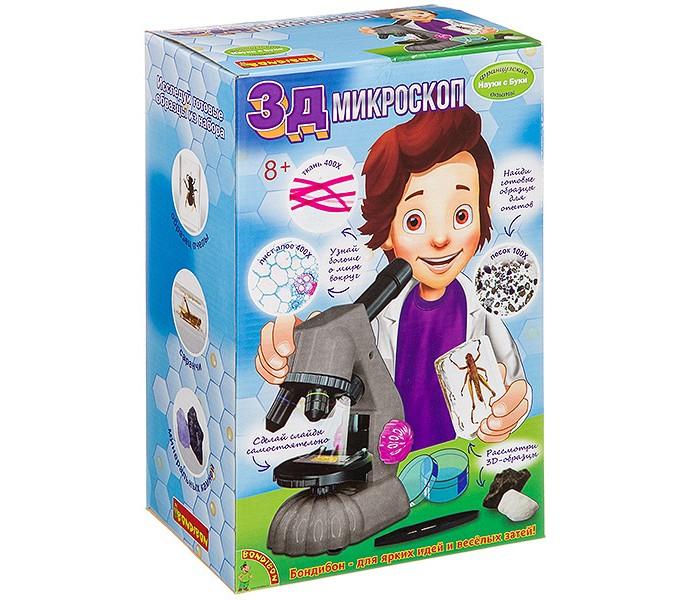 Купить Наборы для опытов и экспериментов, Bondibon Французские опыты Науки с Буки 3Д Микроскоп