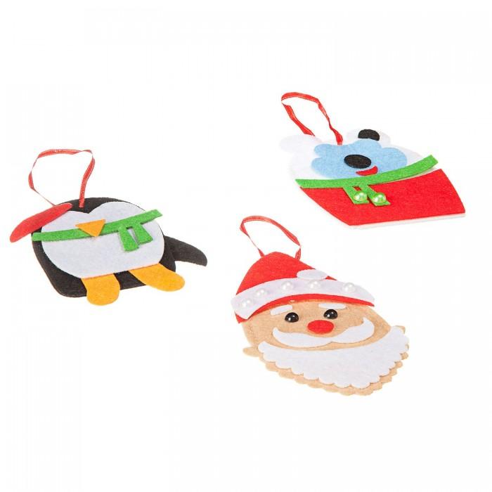 Картинка для Аппликации для детей Bondibon Ёлочные украшения из фетра (Пингвин, мишка, Дед Мороз)