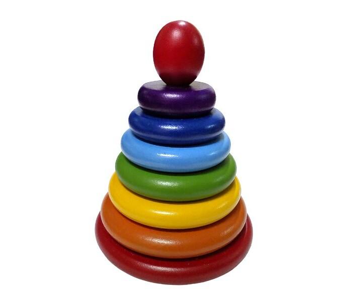 Картинка для Деревянные игрушки RNToys Пирамидка Радуга (8 деталей)