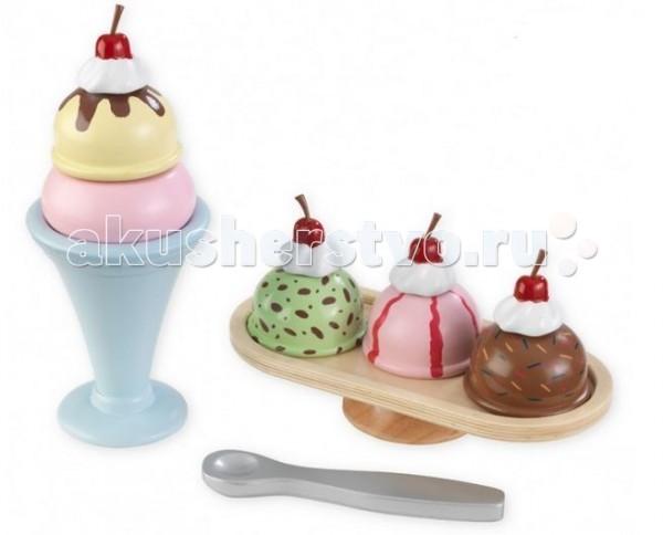 KidKraft Игровой набор для детей МороженоеИгровой набор для детей МороженоеKidKraft Игровой набор для детей Мороженое. Ваш любимый сладкоежка сможет приготовить в стаканчике с ложечкой любимый десерт на свой вкус - клубничное, банановое или шоколадное, да еще и с ягодкой сверху, а потом красиво подать его на подставке для мороженого.   Все детали комплекта деревянные и окрашены нетоксичными красками.   В наборе: шарики мороженого креманка  блюдо ложка.<br>
