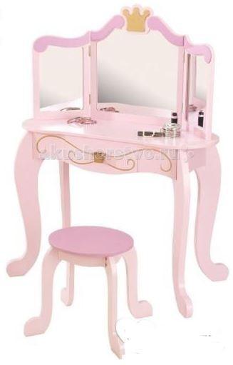 KidKraft Туалетный столик (трельяж) с зеркалом для девочки ПринцессаТуалетный столик (трельяж) с зеркалом для девочки ПринцессаKidKraft Туалетный столик (трельяж) с зеркалом для девочки Принцесса (Princess Vanity & Stool) это полноценный предмет мебели для девичьей детской комнаты.  Столик изготовлен в классическом стиле, дополнен фигурными ножками и рамкой зеркала с золотистой короной, а также узором на ящике с изящной ручкой.   Нежный розовый цвет изделия, наличие нескольких зеркал и круглого табурета, несомненно, понравится Вашей дочурке.   В комплекте: трюмо, табурет, инструкция.<br>