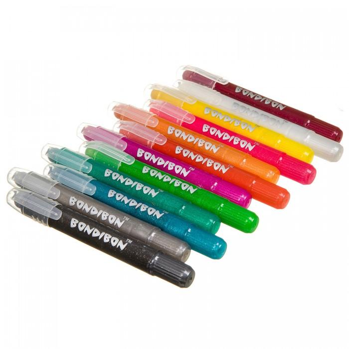 Купить Карандаши, восковые мелки, пастель, Bondibon Набор гелевых карандашей для рисования 12 цветов оттенки металлик в пластиковой коробке