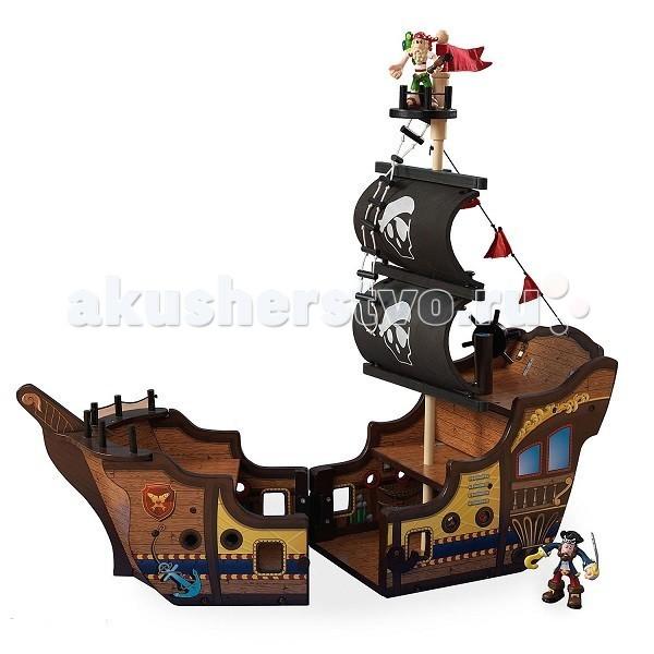 KidKraft Пиратский корабль деревянный раскрывающийсяПиратский корабль деревянный раскрывающийсяKidKraft Пиратский корабль деревянный раскрывающийся. Свистать всех наверх!  Пиратский набор позволит проявить малышам фантазию и творческие навыки для моделирования сюжета игры. Кроме этого, играя с набором, дети развивают моторику и ловкость рук, внимание и другие качества.   В комплекте: корабль  сундук 2 пирата пушка инструкция.<br>
