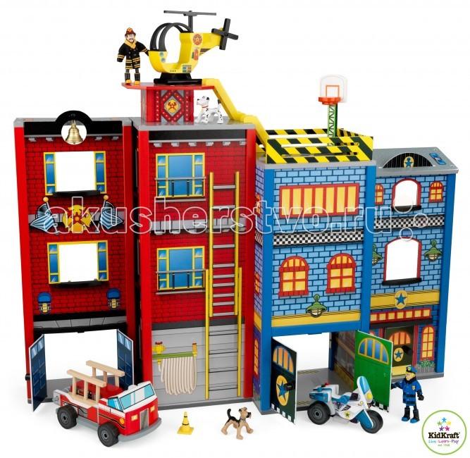 KidKraft Игровой набор для мальчиков Здание спасательной службы 28 элементовИгровой набор для мальчиков Здание спасательной службы 28 элементовKidKraft Игровой набор для мальчиков Здание спасательной службы 28 элементов. На спасательной станции в три этажа располагается двенадцать комнат – это место для пожарной машины, гостиная, спальня и другие помещения.   В комплектацию входит различная мебель, такая как кровать, столы, стулья и многое другое. На представленной станции всегда дежурит помощник спасателей – умная служебная собака. В распоряжении пожарного и полицейского есть спасательные машины, вертолет и специальный гоночный мотоцикл. Как только прозвучит сирена, герои оперативно спускаются с третьего этажа на самый нижний.   Всего в наборе 24 игровых элемента.<br>