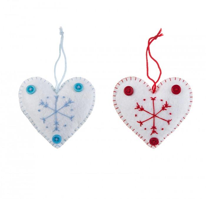 Картинка для Наборы кройки и шитья Bondibon Ёлочные игрушки из фетра Сердечки