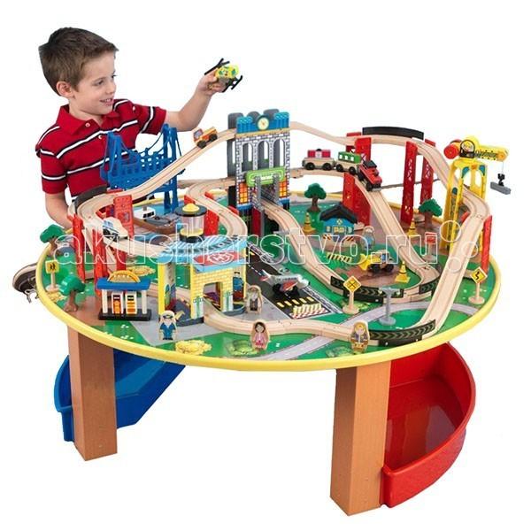 KidKraft Деревянная железная дорога наш город 80 элементов со столомДеревянная железная дорога наш город 80 элементов со столомKidKraft Деревянная железная дорога наш город 80 элементов со столом. Здесь и многоуровневые дороги, туннели, подъемные краны, аэропорт, где есть взлетная полоса и место для посадки вертолетов. В дополнение к этому в комплектацию входят фигуры людей.   Значительный размер игрушечного набора позволит детям проводить время вместе со своими друзьями без споров и дележек.   Серьезные габариты железной дороги позволяют принимать в игру многих товарищей для более интересного времяпровождения.<br>