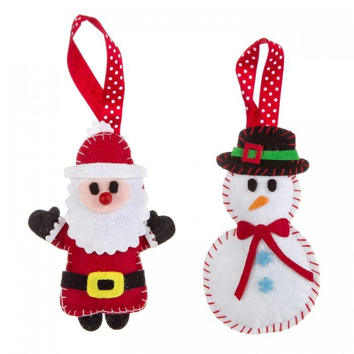 Картинка для Наборы кройки и шитья Bondibon Ёлочные игрушки из фетра своими руками Снеговичок, Дед Мороз