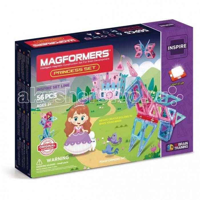 Конструктор Magformers Магнитный Princess SetМагнитный Princess SetМагнитный конструктор Magformers 63130 Princess Set.  Набор Magformers Принцесса — лучший выбор для маленьких принцесс! Все детали исполнены в нежных пастельных тонах, которые так нравятся девочкам. Набор включает в себя светодиодную подсветку и светорассеивающую пирамидку. С их помощью замок, принцессы заиграет сказочными огнями, бабочки, цветы или единорог станут поистине волшебными.  Уважаемые родители, обращаем ваше внимание, что данный набор предназначен для детей старше 3-х лет. Дети меньшего возраста тоже с удовольствием играют в Магформерс, но только вместе с родителями!   Набор Magformers Princess Set содержит 56 элементов: Равнобедренный треугольник: 6 шт. Треугольник: 16 шт. Квадрат: 13 шт. Минипрямоугольник: 7 шт. Ромб: 6 шт. Шестиугольник: 2 шт. Минисектор: 4 шт. Светодиод: 1 шт. Треугольная светорассеивающая пирамида: 1 шт.<br>