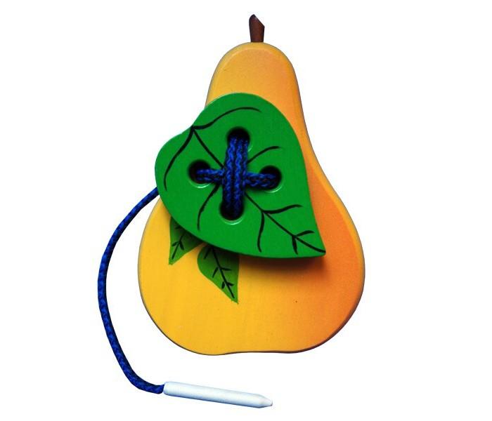 Картинка для Деревянные игрушки RNToys Груша с листиком шнуровка крашенная