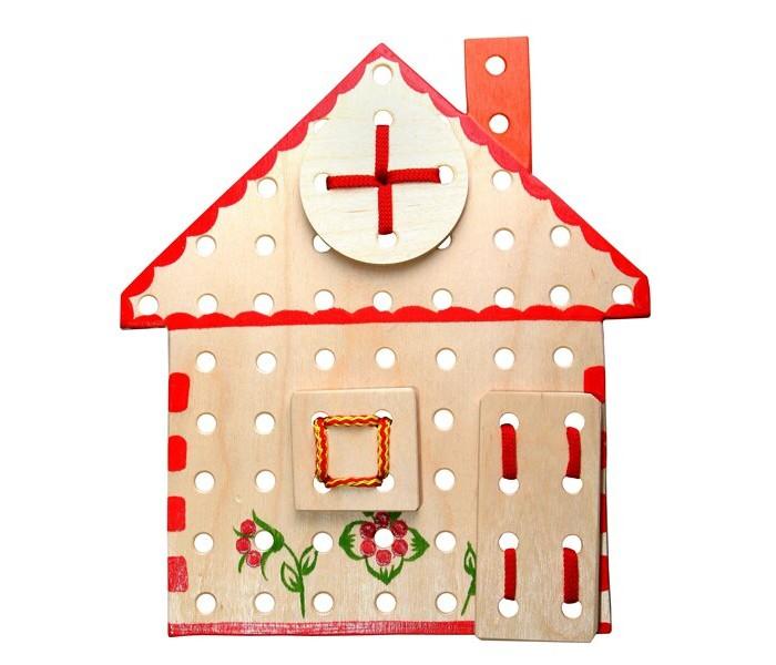 Картинка для Деревянные игрушки RNToys Домик расписной шнуровка
