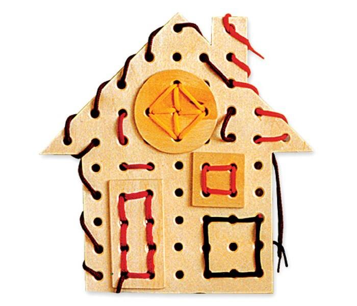 Картинка для Деревянные игрушки RNToys Домик шнуровка