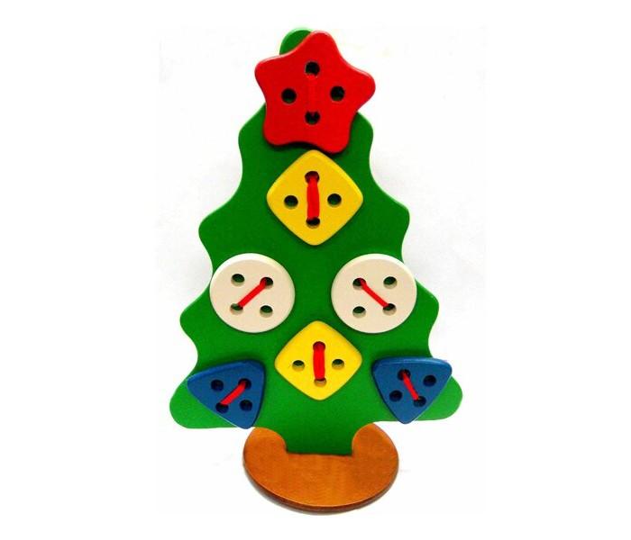 Деревянные игрушки RNToys Елка шнуровка геометрическая на подставке