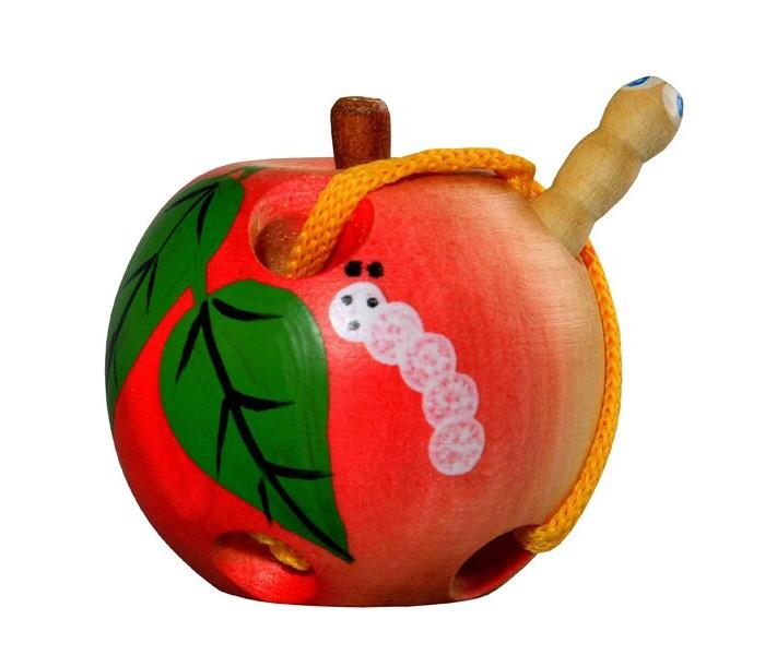 Картинка для Деревянные игрушки RNToys Яблоко шнуровка малое расписное