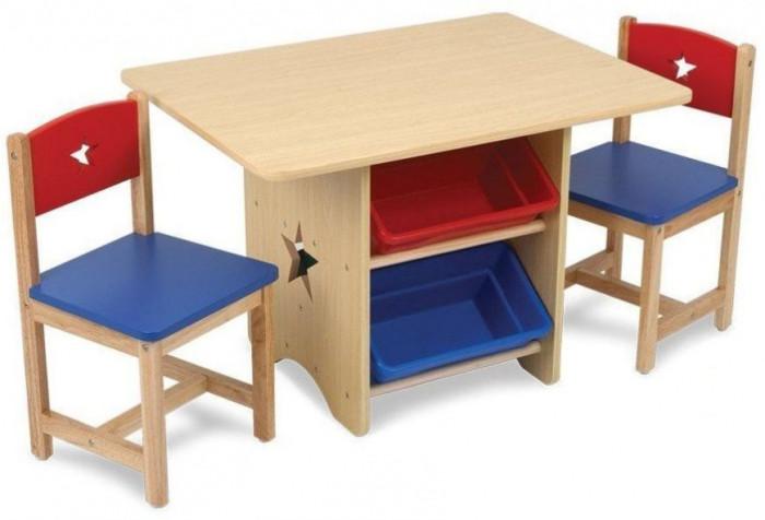 KidKraft Набор детской мебели StarНабор детской мебели StarKidKraft Набор детской мебели Star (стол + 2 стула + 4 ящика) идеальное место для выполнения домашних заданий, настольных игр и творчества.  Имеются четыре выдвижных ящика из пластика.   Такой уголок органично впишется в интерьер комнаты малышки, как ее рабочее место для уроков, игр и развлечений.   Размер: стол - 77 х 57 х 52 см  стул - 30 х 30 х 51 см (сиденья: 28 см)<br>