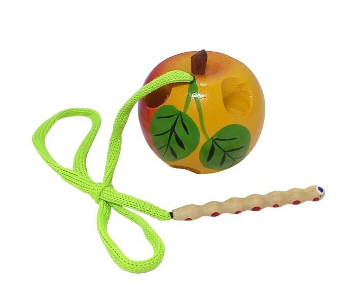 Картинка для Деревянные игрушки RNToys Яблоко шнуровка малое расписное Ш-045