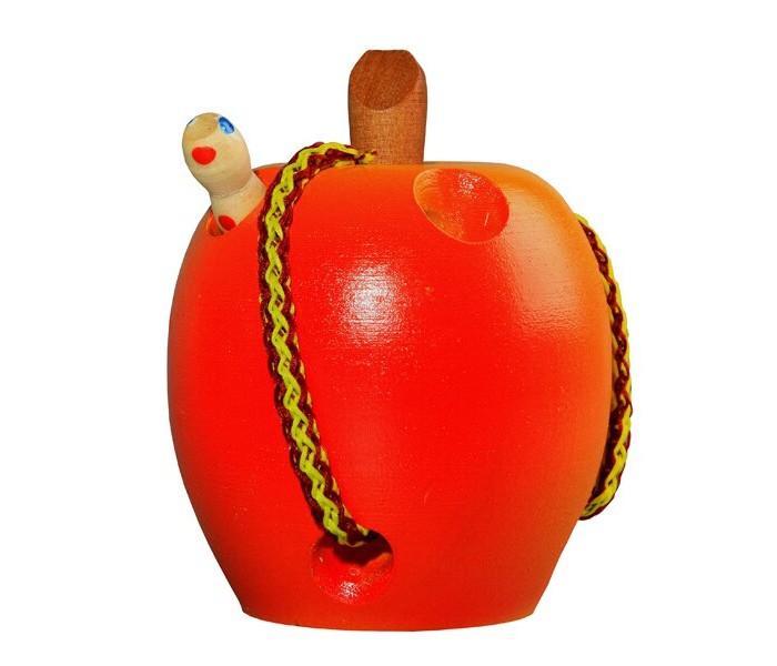 Деревянные игрушки RNToys Яблоко шнуровка крашенное