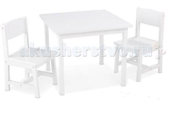 KidKraft Набор мебели AspenНабор мебели AspenKidKraft Набор мебели Aspen - стол + 2 стула White является идеальным местом для творчества, настольных игр, работай над школьными проектами, или просто для обеда или полдника.  Состоит комплект из белого деревянного столика и двух стульев. Благодаря уникальному дизайну, набор украсит интерьер детской. Благодаря чему можно обустроить для ребенка уютную рабочую зону, что сделает его времяпрепровождение за рисованием, лепкой или настольными играми еще приятнее.  Размер: стол: 60 х 60 х 48 см  стулья: 29 х 30 х 55 см (сиденья: 28).<br>