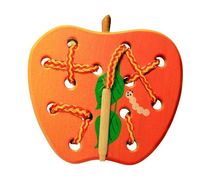 Картинка для Деревянные игрушки RNToys Яблоко плоское шнуровка