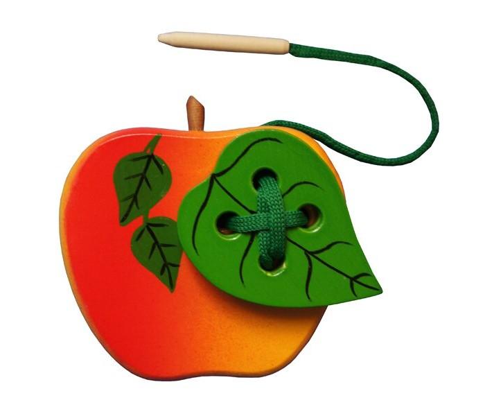 Картинка для Деревянные игрушки RNToys Яблоко с листиком шнуровка