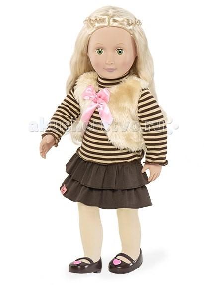 Our Generation Dolls Кукла 46 см Холли в стильной одеждеКукла 46 см Холли в стильной одеждеOur Generation Dolls Кукла 46 см Холли в стильной одежде порадует Вашего ребенка своим милым внешним видом.  Холли - с длинными шелковистыми волосами, красивыми зелеными глазами и безупречным исполнением - не оставит Вашу малышку равнодушной!   Одета Холли в платьице с коричневой юбочкой с полосатым топом в тон, меховой жилет, светлые колготочки и туфельки, украшенные розовым сердечком.   Голова, руки, ноги куклы - полностью изготовлены из высококачественного винила, туловище - мягконабивное<br>