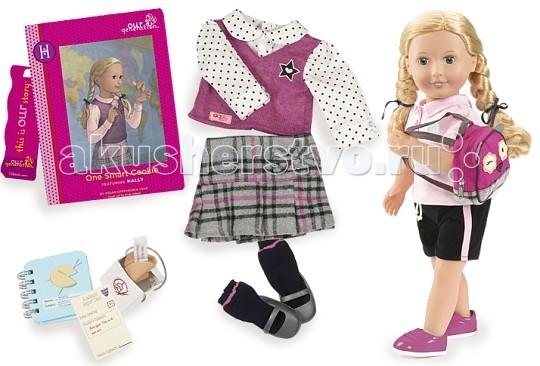 Our Generation Dolls Кукла делюкс 46 см Холли и Печенье с предсказанием для умницыКукла делюкс 46 см Холли и Печенье с предсказанием для умницыOur Generation Dolls Кукла делюкс 46 см Холли и Печенье с предсказанием для умницы принцесса обязательно полюбит набор, ведь здесь есть всё для увлекательной игры.   Холли является школьницей и имеет красивую школьную форму, а также рюкзачок. Ваша малышка может представить себя в роли родителя Холли и отправлять её в школу. Помимо этого можно будет создавать ей новые образы – её длинные волосы удобно расчёсывать и заплетать, придумывая Холли замысловатые причёски. Кукла станет лучшим подарочком для девочки, ведь собрав компанию из нескольких персон, можно придумывать целые сюжеты с их участием. Ребёнок сможет ухаживать за куклой и одевать её, проявляя свою заботу и фантазию.   Голубоглазая малышка Холли может стать одним из лучших экземпляров этой занимательной кукольной коллекции, радуя ребёнка своей оригинальностью и привлекательностью.   Комплектность: кукла Халли, юбка-шотландка, блузка-жилетка, носочки, туфли, шорты спортивные, кроссовки, футболка, нижнее белье, рюкзак, печенье с предсказаниями в коробочке, блокнот, табель успеваемости, книга Печенье с предсказанием для умницы на русском языке, закладка для книги, каталог модной одежды.<br>