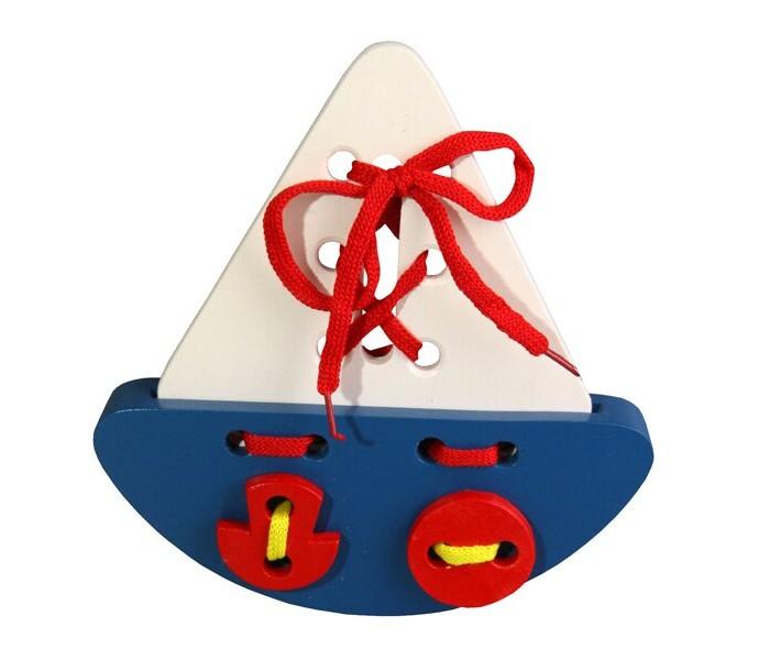 Картинка для Деревянные игрушки RNToys Кораблик шнуровка
