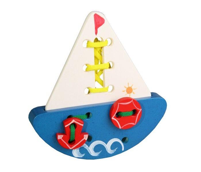 Картинка для Деревянные игрушки RNToys Кораблик шнуровка расписной