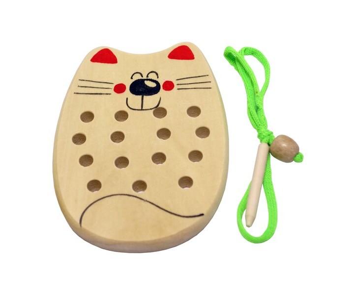 Картинка для Деревянные игрушки RNToys Кот шнуровка