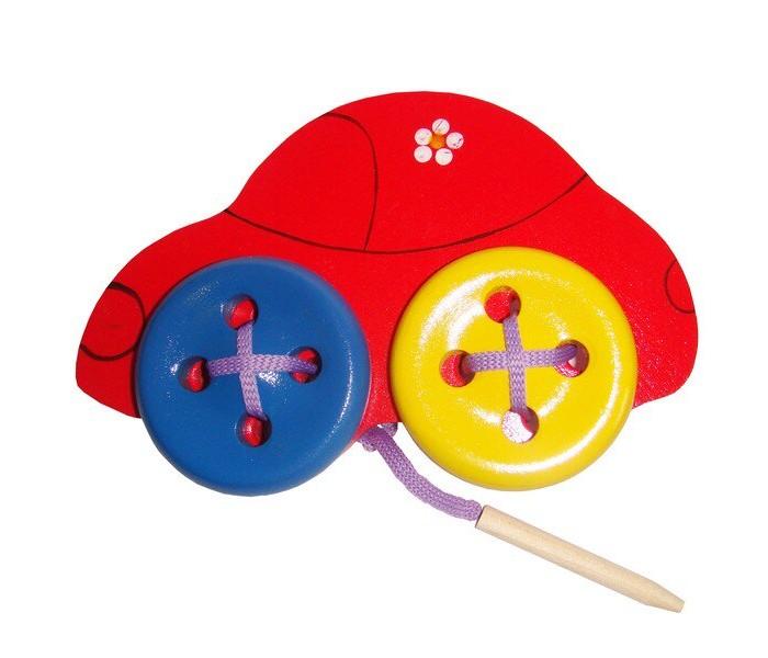 Картинка для Деревянные игрушки RNToys Машинка шнуровка Д-596