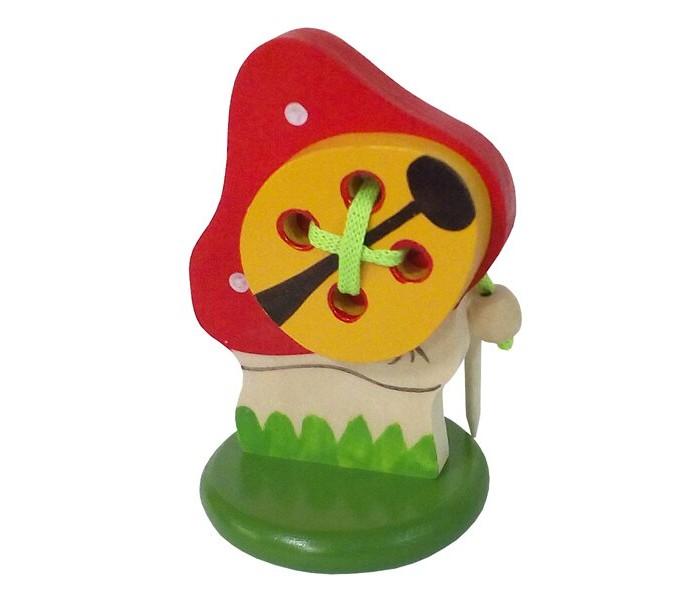 Картинка для Деревянные игрушки RNToys Мухомор с жучком шнуровка на подставке