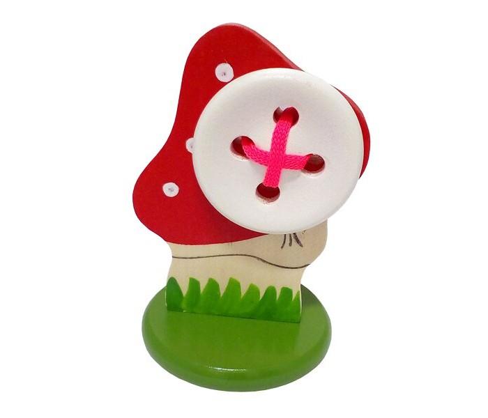 Картинка для Деревянные игрушки RNToys Мухомор с пуговицей шнуровка на подставке