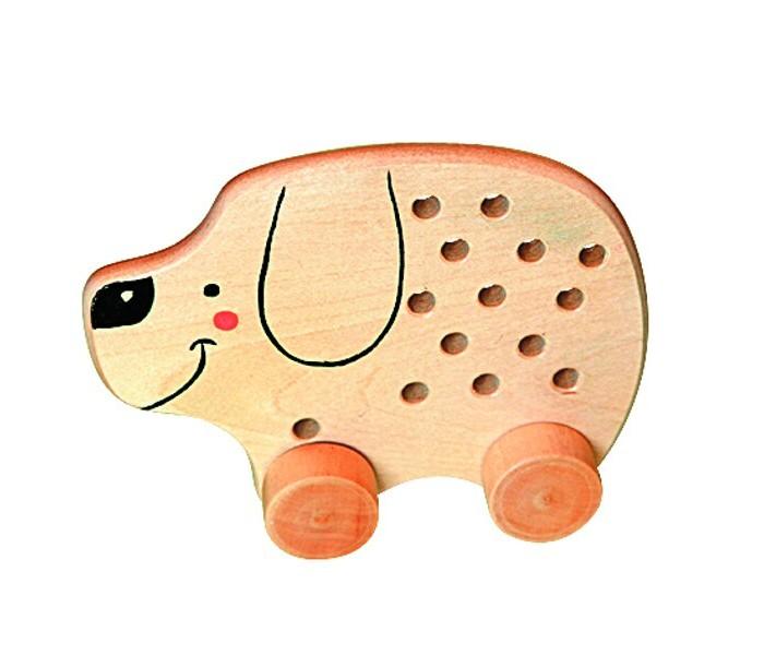 Деревянные игрушки RNToys Собачка на колесиках