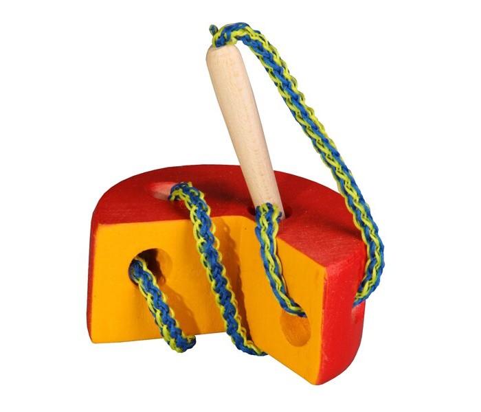 Картинка для Деревянные игрушки RNToys Сыр круглый цветной шнуровка