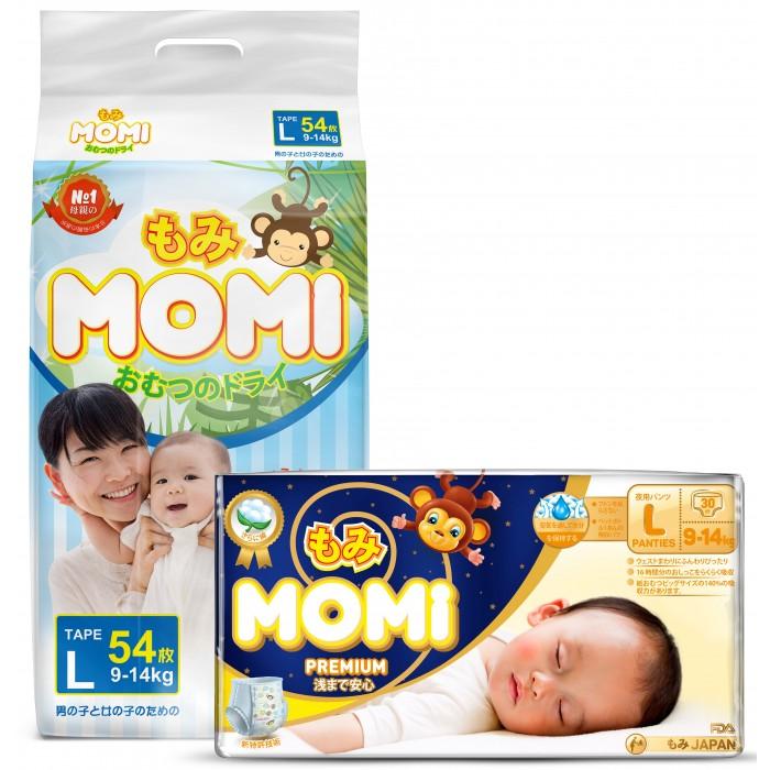 Momi Набор Подгузники L и Ночные трусики премиум L (9-14 кг)