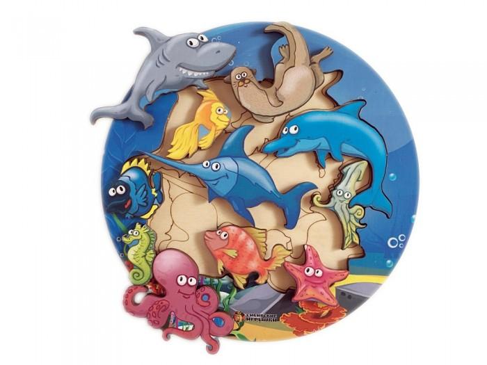 Деревянные игрушки Сибирские игрушки Пазл-вкладыш Морские обитатели деревянные игрушки viga пазл морские обитатели
