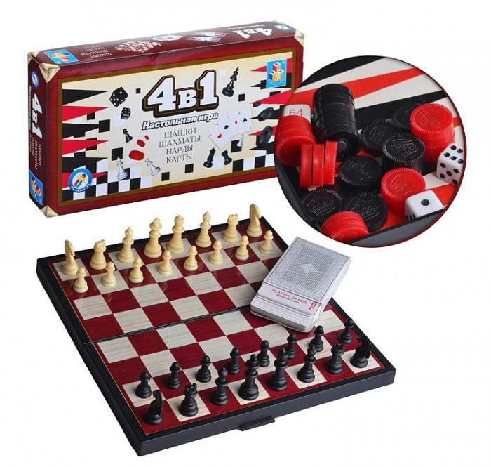 Настольные игры 1 Toy Игра настольная 4 в 1 Шашки/шахматы/нарды/карты на магните настольная игра нарды шахматы нарды дорожные в ассортименте а 1