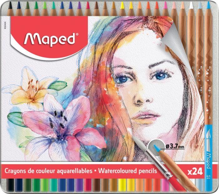 Карандаши, восковые мелки, пастель Maped Акварельные карандаши с кисточкой Artist 24 цвета
