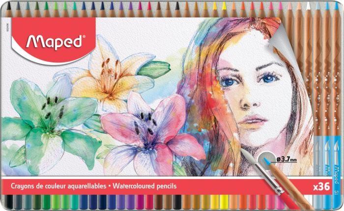 Картинка для Карандаши, восковые мелки, пастель Maped Акварельные карандаши с кисточкой Artist 36 цветов