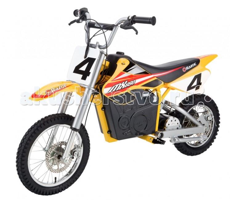 Электромобиль Razor электробайк MX650электробайк MX650Мотоцикл MX650 — электрический аналог взрослых кроссовых мотоциклов. Оба 16-дюймовыхколеса имеют систему амортизаторов, а также дисковые тормоза. Мотор рассчитан на преодоление резких подъемов в гору и преодоление дистанции до двадцати километров на одном заряде.   Электробайк MX650 - для подростков. Мотоцикл рекомендуется ездокам в возрасте от 13 лет, однако под наблюдением взрослых его смогут освоить и более юные гонщики. В отличие от бензиновых аналогов, Dirt Rocket™ MX650 не требует обслуживания и бензина. Это бескомпромиссный выбор для вас и вашего ребенка, красивый и супер-надежный.  Особенности: От 12 лет Мощный мотор 650 ВАТТ Скорость до 30 км/ч Вес электробайка 44 кг Два дисковых тормоза Настраиваемое положение руля Двойная амортизация Кроссовая геометрия корпуса Полностью защищен от влаги Не требует сервисного обслуживания Запас хода 60 минут на полном заряде Полная зарядка в течение 8 часов Время зарядки наполовину 4 часа Размеры электробайка: 142 х 62 х 91<br>