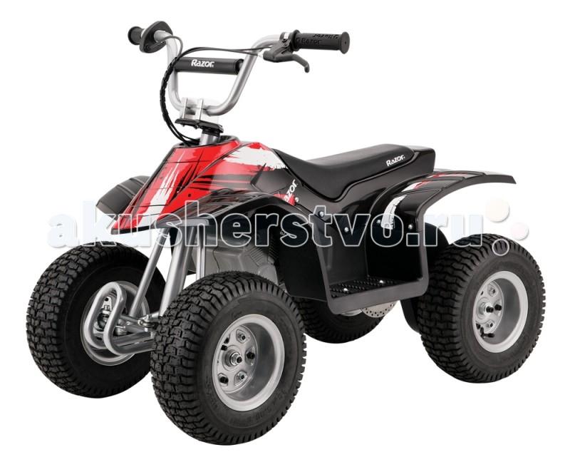 Электромобиль Razor квадроцикл Dirt Quadквадроцикл Dirt QuadRazor представляет первый качественный электрический квадроцикл Dirt Quad на российском рынке. Он подойдет для детей от 6 лет и подростков весом до 55 килограмм. Dirt Quad выглядит стильно и агрессивно. Он очень прочен и продуман до мелочей, что оставляет лучшее впечатление с первой поездки. Преимущество его электромотора в том, что он не требует обслуживания: замены жидкостей, свеч и подобного. Чтобы ехать на нем, его достаточно зарядить от сети. Dirt Quad — безопасный и надежный американский квадроцикл, который будет радовать вашего ребенка в любую погоду.  Особенности: От 6 лет Скорость до 19 км/ч Максимальная нагрузка 55 кг. Вес квадроцикла 40 кг. Мощный мотор в 350W Обтекатель из небьющегося пластика, и трубная рама с порошковым покрытием для надежности при любой погоде Мотор и зубчатая передача с высоким крутящим моментом Поворотная ручка акселератора для контроля скорости Ручной задний дисковый тормоз 13-дюймовые шины с высоким протектором Задняя подвеска свободного хода с пружинными амортизаторами Передний отбойник Ручка для переноски сзади Возможность вертикального хранения экономит пространство Регулируемый руль (угол наклона) До 60 минут непрерывного использования Время полной зарядки 7 часов Система герметичных свинцово-кислотных заряжаемых аккумуляторов на 24 Вольт (2 х 12 В) Не требует сервисного обслуживания Размеры электро-квадроцикла 103 х 60 х 83<br>