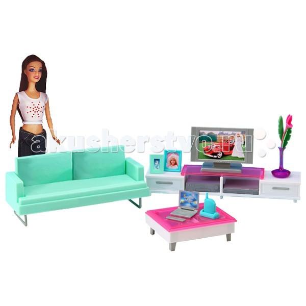 1 Toy Красотка Набор мебели с куклой Гостиная с телевизоромКрасотка Набор мебели с куклой Гостиная с телевизором1 Toy Красотка Набор мебели с куклой Гостиная с телевизором - идеальный выбор для любой маленькой девочки. В комплекте есть не только красивая кукла, но и мебель для обустройства комнатки.  Очаровательная кукла-красотка идет в комплекте с гостинной и игровыми аксессуарами в духе шагающей в ногу со временем юной жительницы мегаполиса.   Мебель Красотка очень проста в сборке, сама девочка может собрать её, а если ребёнок ещё мал, то это легко осуществимо вместе с родителями.<br>