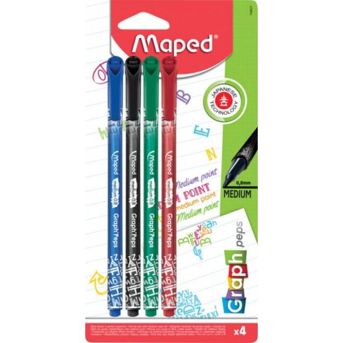 Канцелярия Maped Ручка капиллярная Grah Peps 4 цвета ручка капиллярная manga набор 4 цвета холодные тона в футляре 167006