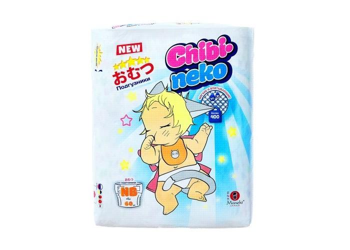 Maneki Подгузники Chibi-neko NB (5+кг) 60 шт.