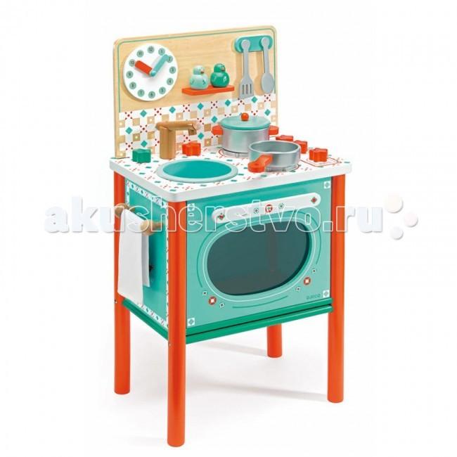 Djeco Кухня Маленький завтракКухня Маленький завтракДеревянная игрушка Djeco Кухня Маленький завтрак - великолепная игрушка для маленьких хозяюшек!  На этой замечательной детской кухне есть все самое необходимое для того, чтобы приготовить вкусный обед для своих игрушечных друзей.   В комплекте: плита, сковородка, кастрюля, солонка и перечница, полотенце, ложечка и лопатка.   Основные характеристики: варочная панель имеет 2 конфорки дверца плиты открывается и внутрь можно поставить посуду для приготовления с помощью часиков можно познакомиться с числами и временем  все детали изготовлены из высококачественных материалов дерево покрыто безопасными нетоксичными красками  набор продается в красивой коробке и идеально подходит для подарка.  Размеры игрушки: 37.4 x 69.3 x 25.2 см<br>