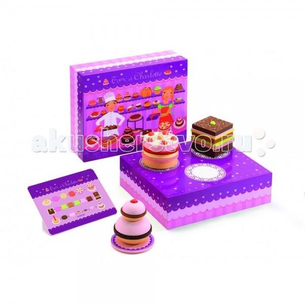 Деревянная игрушка Djeco КондитерскаяКондитерскаяДеревянная игрушка Djeco Кондитерская - поможет каждой девочке почувствовать себя опытной хозяйкой, с помощью разноцветных слоев, можно создавать невероятно красивые торты и пирожные для своих гостей и куколок.   В комплект входит два подноса, две вертикальные основы, множество разноцветных слоев, табличка с рецептами фирменных пирогов.  В комплекте: подставка детали для создания пирожных.<br>