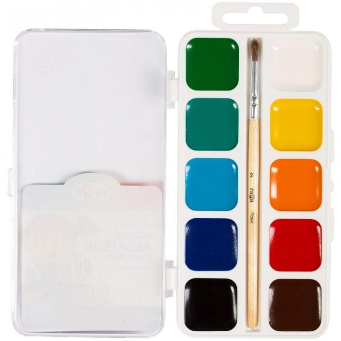 Картинка для Краски Гамма Акварель Классическая медовая полусухая с кистью 10 цветов