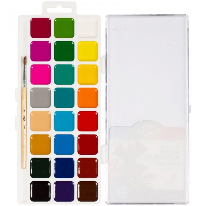 Картинка для Краски Гамма Акварель Классическая медовая полусухая с кистью 24 цвета